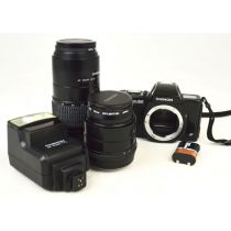 Chinon CP-9AF, analoge Kamera mit 2 Objektiven und Blitzlicht