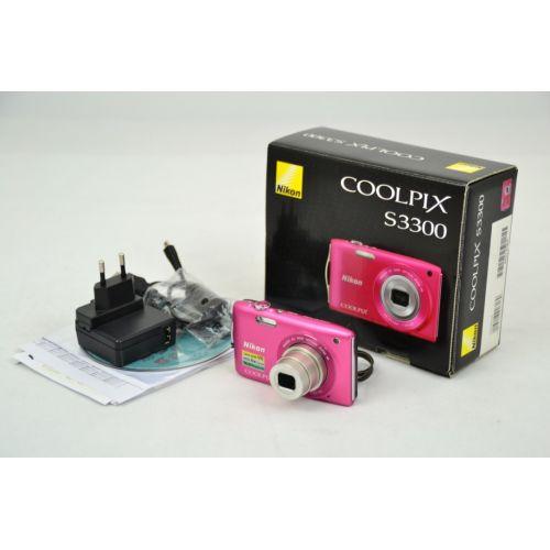 Nikon Coolpix S3300 Digitalkamera gebraucht OVP (16 Megapixel, 6-fach opt. Zoom, 6,7 cm (2,7 Zoll) Display) pink