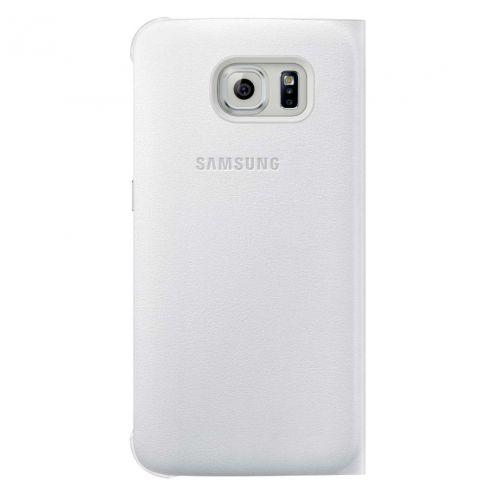 Original Samsung Galaxy S6 S-View Cover Schutzhülle Kunstleder weiß