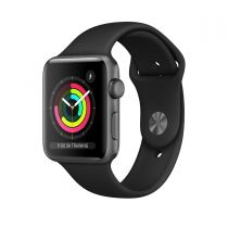 Apple Watch Series 3 Aluminiumgehäuse, Space Grau, 42mm, Schwarz Demogerät in OVP