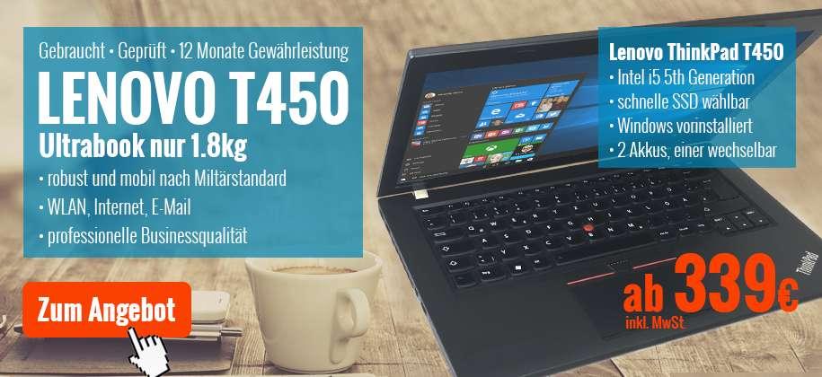 Lenovo ThinkPad T450 Ultrabook gebraucht mit Garantie günstig kaufen